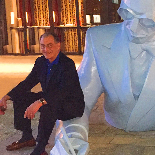 Eric Haggman with sculpture by French artist, Xavier Veilhan